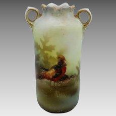 "R.S. Poland 3 ¾"" Handled Vase with Golden Pheasants"