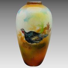"R.S. Prussia 4 ¼"" Turkey Vase with Brown Tones"