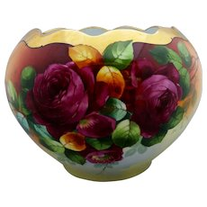 "Donath Studio H.P. Jardiniere with Roses- artist signed ""Donath"""