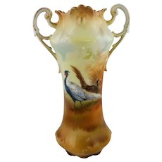 """R.S. Prussia 7"""" Chinese Pheasant Handled Vase with Brown Tones"""