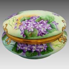 "Limoges H.P. 8"" Dresser Box with Violets by artist ""Kimmel"""