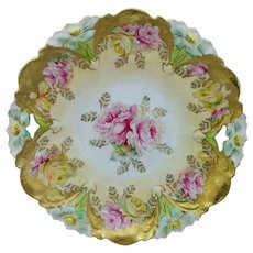 """R.S. Prussia 11"""" Lily Mold Cake Plate with Roses & Gold"""