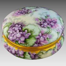 """Limoges H.P. 8"""" Dresser Box with Violets- signed """"F. Karnatz"""""""