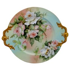 "Ester Miler 16"" Limoges Handled Charger with Peach/Pink Roses- signed ""E. Miler"""