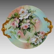 """Ester Miler 16"""" Limoges Handled Charger with Peach/Pink Roses- signed """"E. Miler"""""""