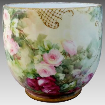 Limoges H.P. Jardiniere with Red and Pink Roses
