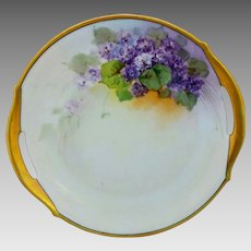 """Hand Painted 10 ¼"""" Violets Open Handled Cake Plate"""