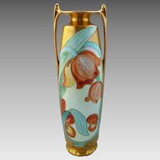 "Pickard H.P. 12"" Art Nouveau Vase with Tulips- artist signed"