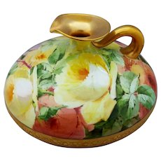 Belleek H.P. Squat Ewer with Salmon and Yellow Naturalistic Roses