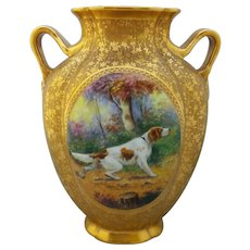 """Pickard H.P. 8 ¾"""" AOG Pillow Vase with Spaniel by artist F. Cirnacty"""