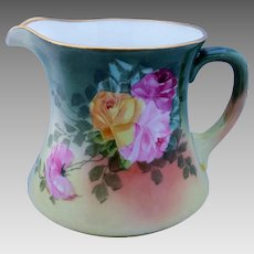 """Hand Painted Cider Pitcher with Red, Pink and Yellow Roses by Chicago Artist """"REX"""""""