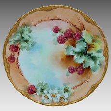 "Elsie Bieg H.P. 8 ½"" Cake Plate with Raspberries -signed ""E.W. Bieg"""
