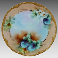 """Elsie Bieg H.P. 8 ½"""" Cake Plate with Plums -signed """"E.W. Bieg"""""""