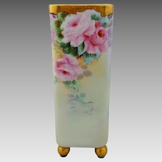 Ida Sommer Hand Painted Footed Vase with Pink Roses