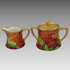 """Pickard H.P. """"Poinsettia and Lustre"""" Sugar and Creamer by Joseph Yeschek"""