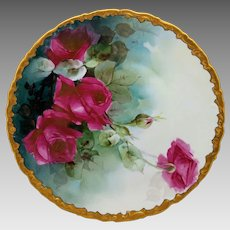 """White's Art Co. H.P. 11 ¾"""" Red Roses Charger with Gold Rim- artist signed """"NEY"""""""