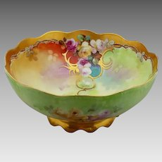 """Pickard H.P. Footed Bowl with Roses & Gold by artist Thomas Jelinek """"TM Jelinek"""""""
