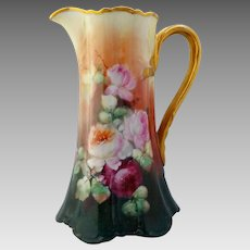 """Limoges H.P. Naturalistic Red, Pink & White Roses Tankard- artist signed """"WORTH"""""""