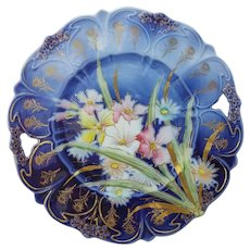 """R.S. Prussia 10"""" Cobalt Blue Pastel Floral Open Handled Cake Plate"""