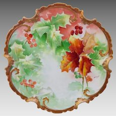 """Limoges H.P. 11 ½""""  Autumn and Berry Decor Charger- artist signed """"Duval"""""""