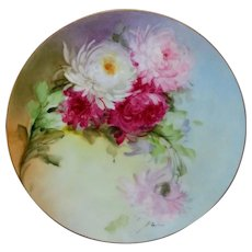 "Beatrice Carlsson H.P. 9"" Cake Plate with Chrysanthemums- signed ""Carlsson"""