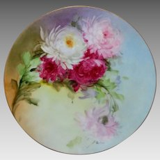 """Beatrice Carlsson H.P. 9"""" Cake Plate with Chrysanthemums- artist signed """"Carlsson"""""""