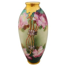 """Pickard H.P. Naturalistic Pink and Red Roses Vase- artist signed """"Seidel"""""""