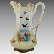R.S. Prussia Two-Scene Tankard with Man In The Mountain and Swallows