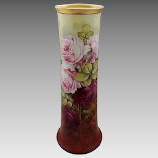 """Edward Heyn H.P. 14 ½"""" Vase with Pink and Red Roses- signed """"Ed. Heyn"""""""