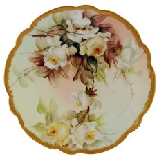 "Ester Miler H.P. Cake Plate with White Roses- signed ""E. Miler"""