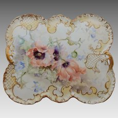 """Franz Bischoff H.P. 15 ¼"""" Open Handled Tray with Apricot Poppies- signed """"Franz A. Bischoff"""""""