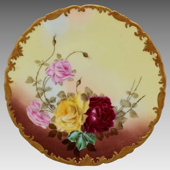 "Limoges H.P. 8 ¼"" Plate with Red, Pink & Yellow Roses by Limoges artist ""Rene"""
