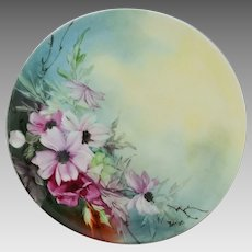 """Haviland H.P. 9 ¼"""" Cake Plate with Purple Clematis by artist Joseph Beitler"""