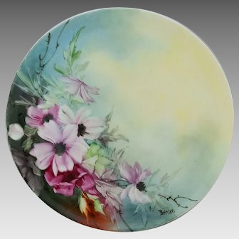 "Haviland H.P. 9 ¼"" Cake Plate with Purple Clematis by artist Joseph Beitler"