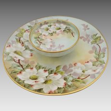 """Paul Putzki Limoges H.P. Two-Tiered Serving Plate with Dogwoods- """"P. Putzki"""""""