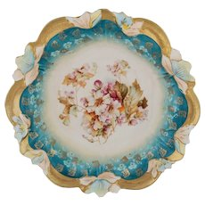"""R.S. Prussia 10 ½"""" Bowl- Floral with Teal and Gold"""