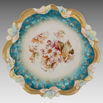 "R.S. Prussia 10 ½"" Bowl- Floral with Teal and Gold"