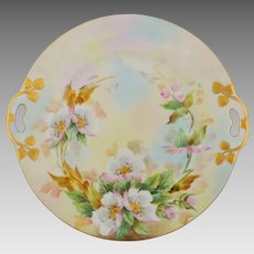 """Bavarian H.P. 10 ½"""" Cake Plate with Pink & White Roses- signed """"Jaeger"""""""