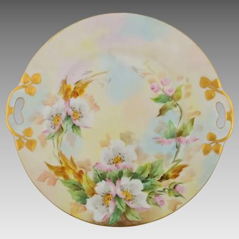 "Bavarian H.P. 10 ½"" Cake Plate with Pink & White Roses- signed ""Jaeger"""