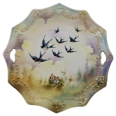 "R.S. Prussia 9 ¾"" Swag & Tassel Cake Plate with Swallows and Cottage Scene"