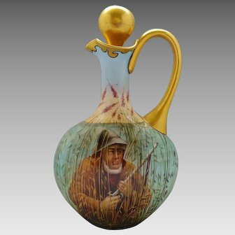 "Limoges H.P. Cruet with Man Hunting in Woods- artist signed ""Roy"""