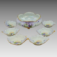 """Hand Painted Violets Nut Set with 6 Dishes- artist signed """"Kimmel"""""""