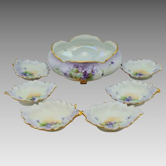 "Hand Painted Violets Nut Set with 6 Dishes- artist signed ""Kimmel"""