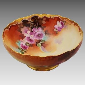 "Pickard H.P. Punch Bowl with Naturalistic Red Roses and Gold by Thomas Jelinek ""TM Jelinek"""
