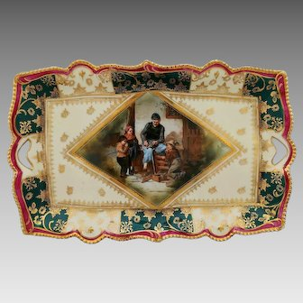 "R.S. Suhl ""The Widdler"" Scene Dresser Tray with Red/Green"