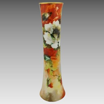 "Hand Painted 10"" Trumpet Vase with White and Orange Poppies- artist signed ""M. BLANCHE LENZI"""