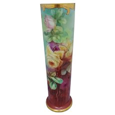 "J.H. Stouffer Co. 15 ½"" Roses Vase by Thomas Jelinek ""TM Jelinek"""
