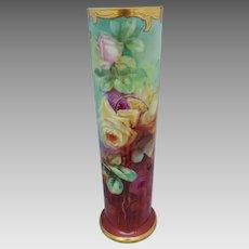 "J.H. Stouffer Co. 15 ½"" Roses Vase by Thomas Jelinek ""TM Jelinek"""