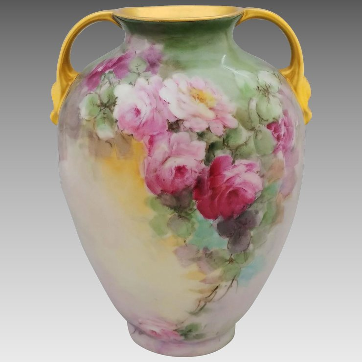 Hand Painted Two Handled Vase With Pink Red Roses Artist Signed
