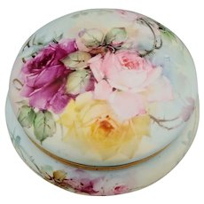 Limoges H.P. Puffy Dresser Box with Red, Pink and Yellow Roses- Powder Blue